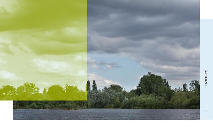photographie d'une vue des Hortillonnages (eau et verdure)