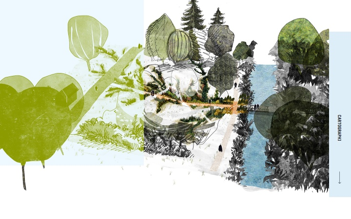 croquis d'un jardin avec un chemin au milieu et de chemin parallèle avec des plantations comme des craquelures. Se situe au milieu d'un grand parc avec des arbres