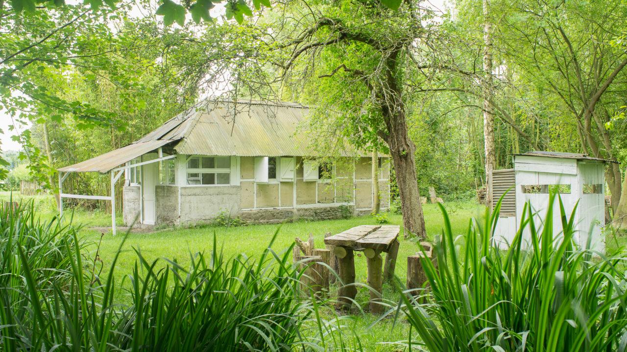 photographie d'un jardin avec un table en bois et une maison blanche