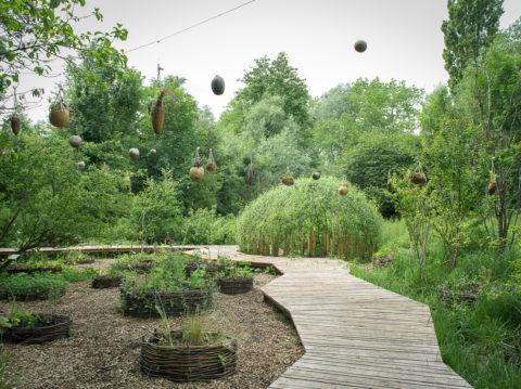 photographie d'un jardin avec un long chemin en bois au milieu aux lignes cassées. Autour des cultures dans des bacs circulaires et beaucoup de végétation. Au fond, un dôme en saules
