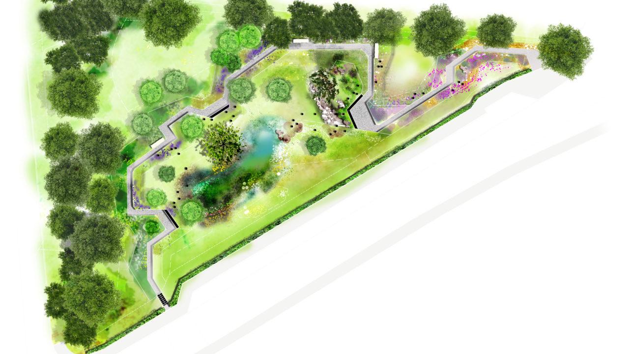croquis d'un jardin avec un long chemin angulaire traversant tout le jardin. Des parterres de fleurs violettes suivent le chemin tracé