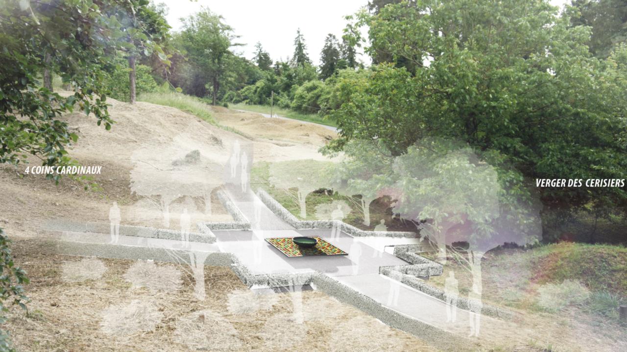 croquis d'un jardin avec un espace dégagé, au milieu un plan métallique quadrillé et coloré, sur lequel est posé une grande coupelle métallique, autour des arbres et des personnes sont esquissés en blanc flou