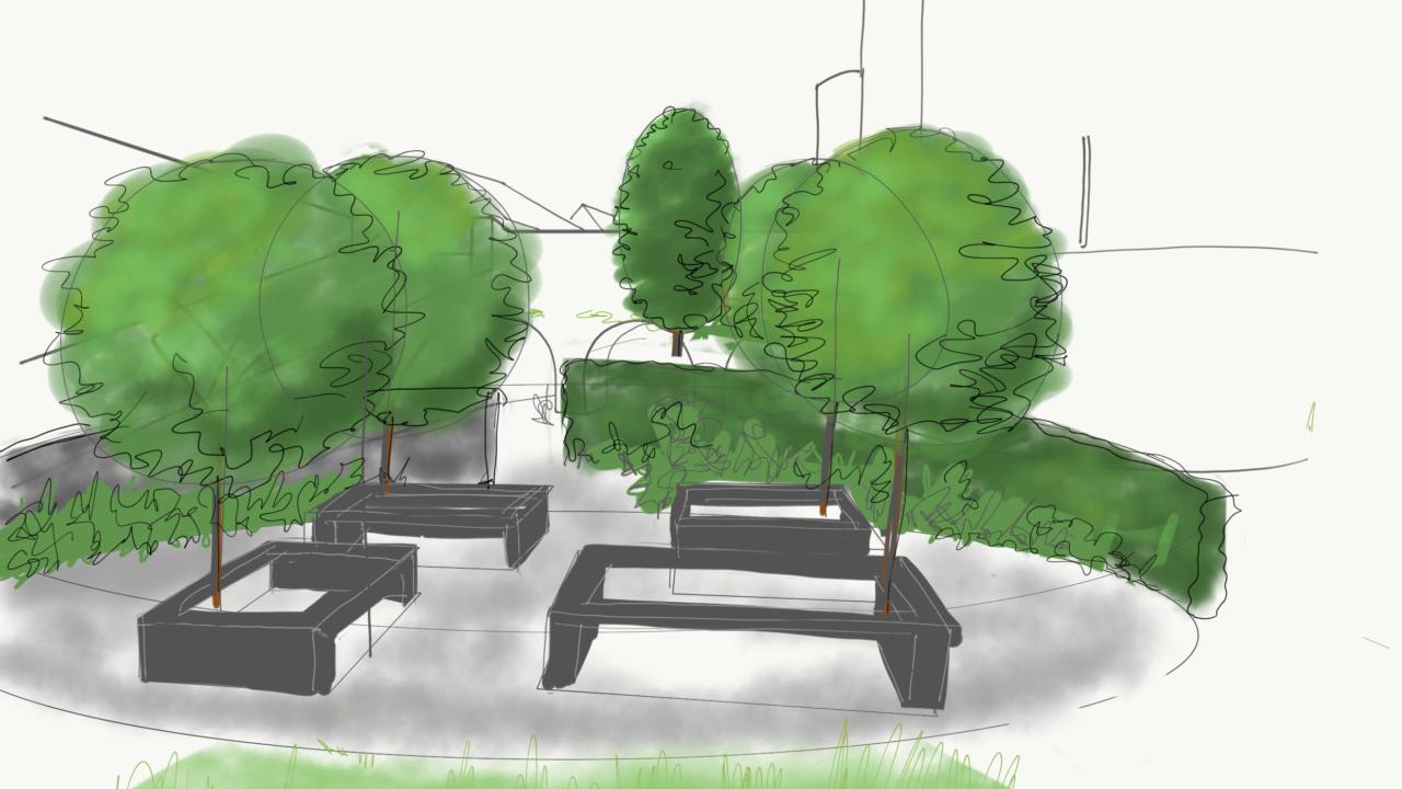 dessin de quatre tables carrés laissées vides au milieu, où des arbres sont plantés