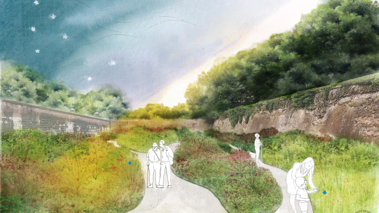 croquis avec des personnages dessinés en blanc, se promenant dans un jardin aux parterres de plantes aux formes organiques, jardin au coeur de murailles