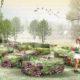croquis représentant des buisson en fleurs aux couleurs vives ainsi qu'une cabane recouverte de fleurs et d'herbe, une jeune fille se promène dans ce jardin