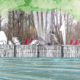 croquis en dessin pour le projet : un quai et des transats au bord de l'eau, et en photographie : des enfants et la forêt