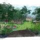 croquis avec une jardin, des arbres et quatre personnages se baladant autour de structure en déchets